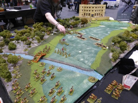 Infantry and cavalry moving up a wargaming table