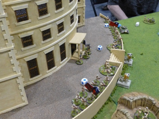 Infantry defending a building and forecourt