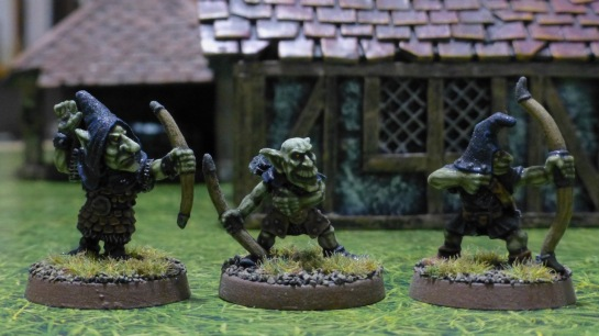 Three goblin archers with black hoods
