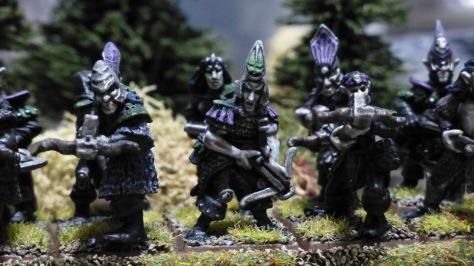 Two ranks of Dark Elves aiming crossbows
