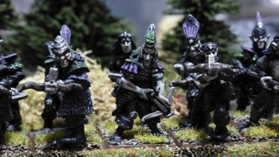 Two ranks of Dark Elves aiming crossbows