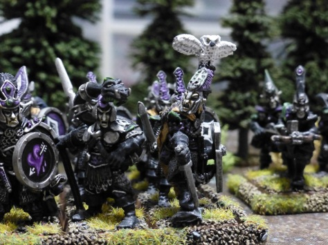 Dark Elves advancing out of a a forest