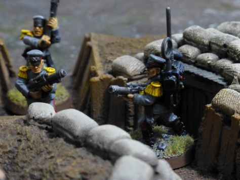Radio operator emerging from a trench bunker