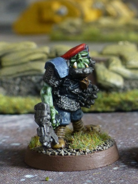 Space Ork Boss with an iron jaw and red beret