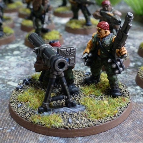 Two man team with missile launcher on bipod