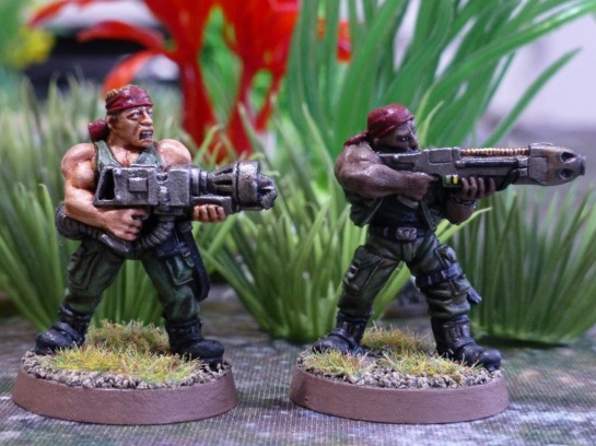 Two soldiers with a flamethrower and a plasma rifle