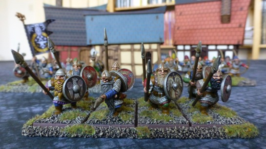 Eye level view of a small regiment of dwarfs with spears and shields
