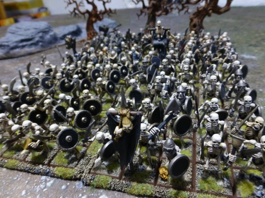 Skeleton warriors formed in deep ranks