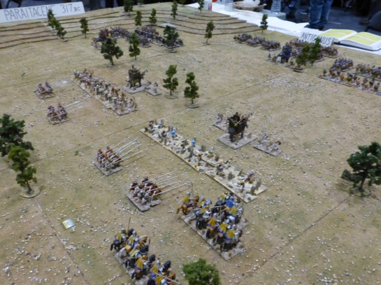 Army of infantry, cavalry and war elephants marching towards the enemy line