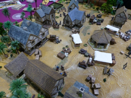 Early colonial settlement with a market square