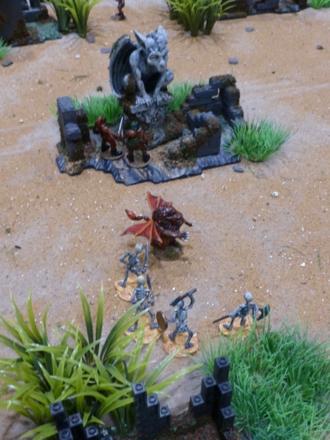 Skeletons, a manticore and two barbarians approaching a demonic stone statue