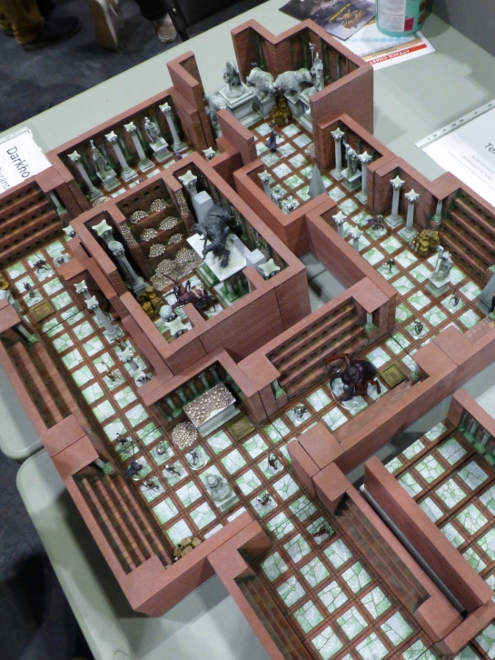 Three-dimensional dungeon set up with roaming monsters