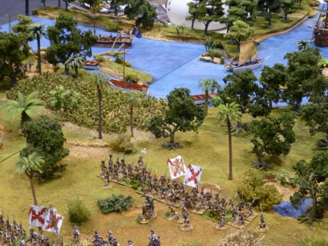 Units of soldiers marching inland under their banners from the river bank