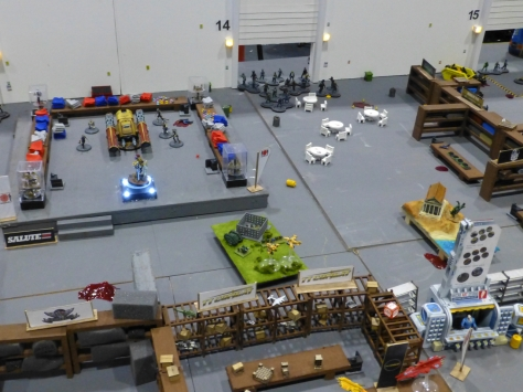 Entrance area of the exhibition hall model being swamped by zombies