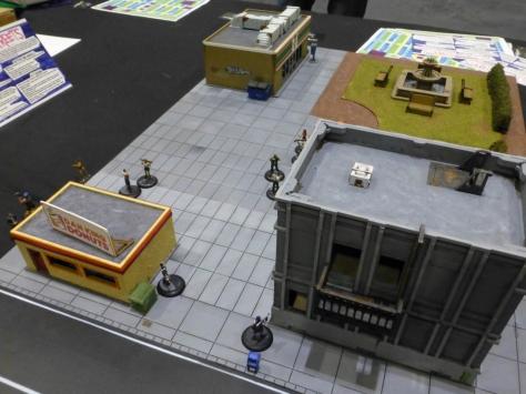 City buildings including a donut shop