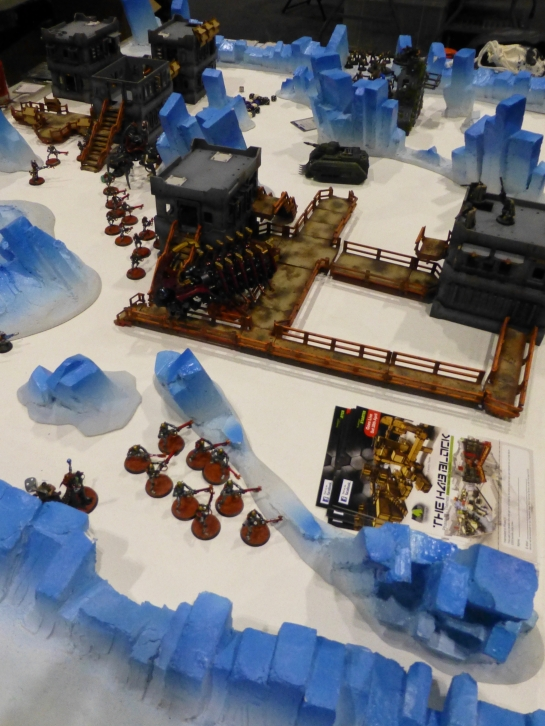 Compound under attack by Necrons in ice crystal landscape