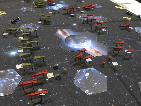Fleets of space ships on a star mat