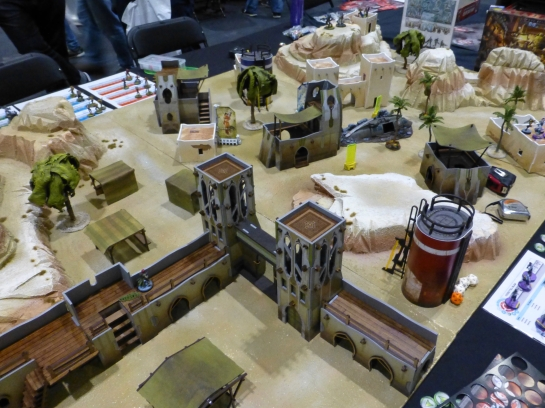 Desert terrain with buildings and a fortification