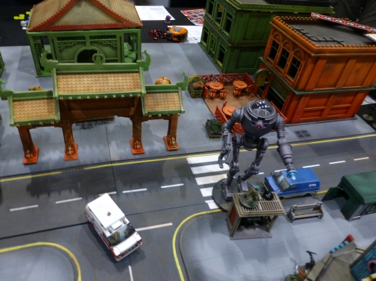 Chinatown scenery with a stompy robot