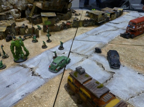 Wasteland with car wrecks and mutants