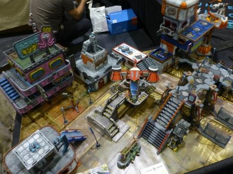 Colourful multi story sci-fi terrain
