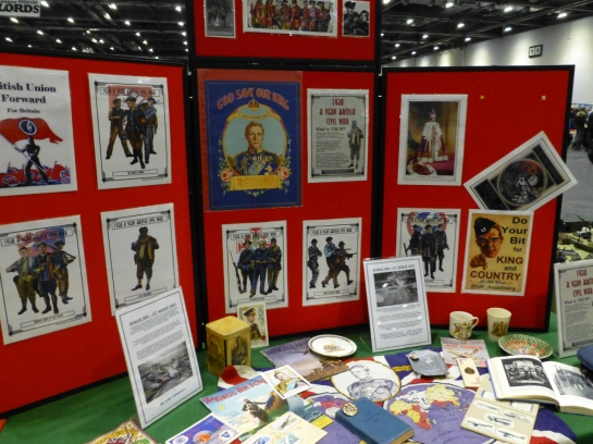 Display boards with historical posters and memorabilia