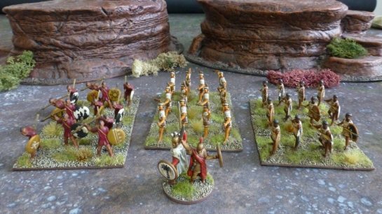 Three blocks of light infantry and a stand with two command figures