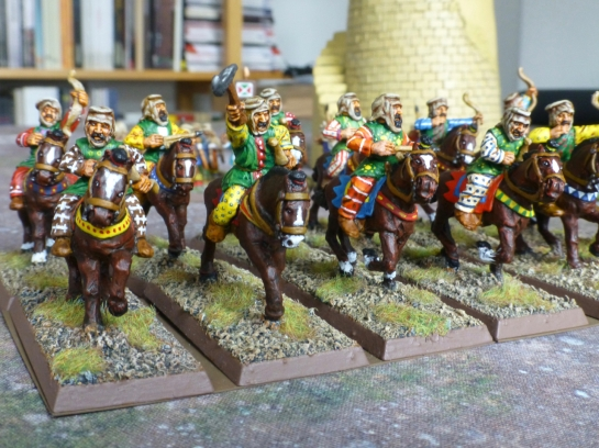 Two ranks of horse archers galloping forwards
