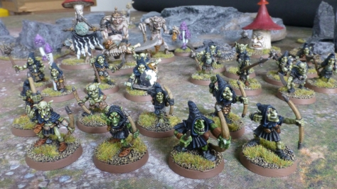 Warband of Night Goblins with trolls and giant mushrooms in the background