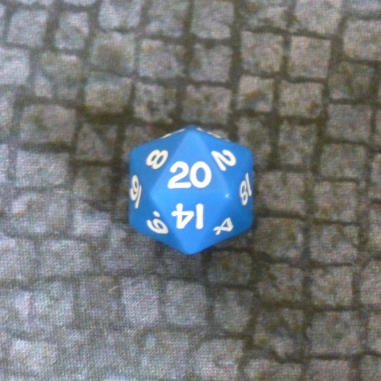 A blue twenty sided die showing a twenty result