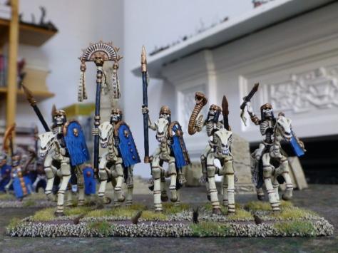 Eye level view of skeletal cavalry heading forwards