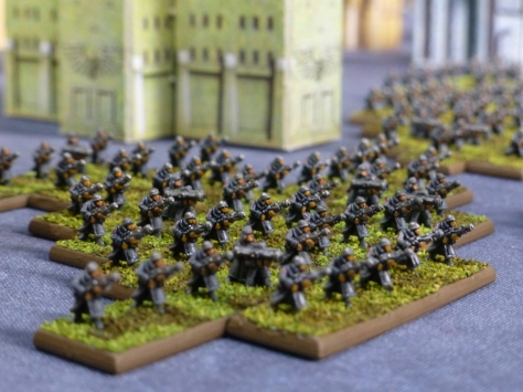 Group of 50 soldiers advancing in lines