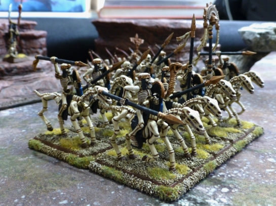 Side view of a ten strong unit of skeleton horsemen
