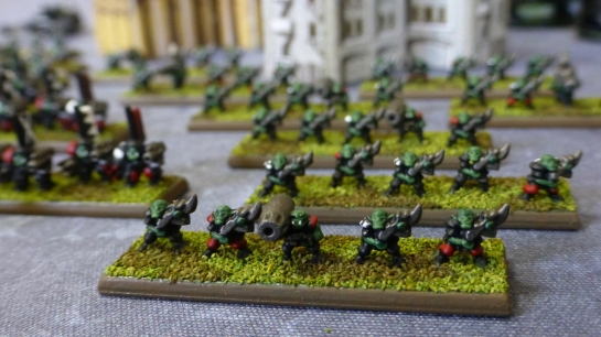 Bases with Space Ork infantry figures