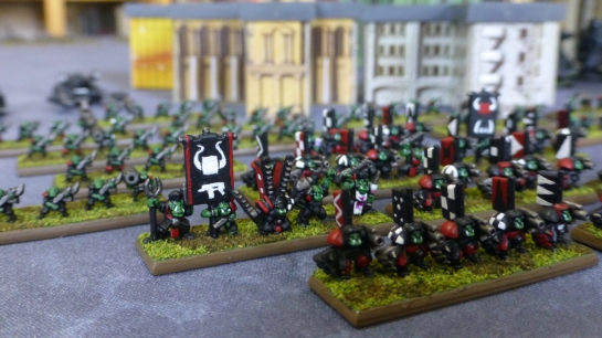 6mm scale Nobz, banner bearers, Runtherdz, Mekboyz, Painboyz and infantry