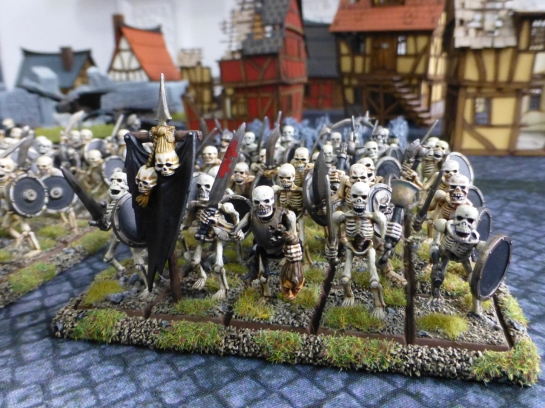 A regiment of skeletal warriors marching under a black banner