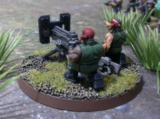 View from behind of a heavy bolter team