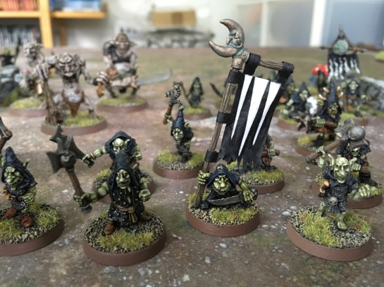 Night Goblin warriors with banner for Saga: Age of Magic
