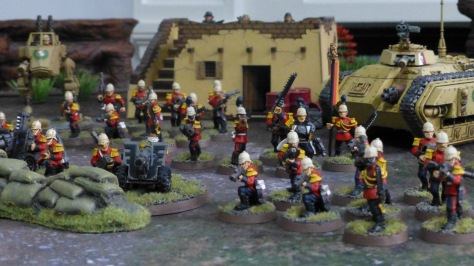 Eye level view of a line of Praetorian soldiers