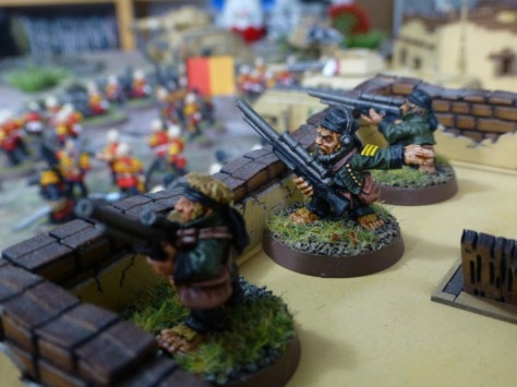 Space hobbits with sniper rifles in green uniforms