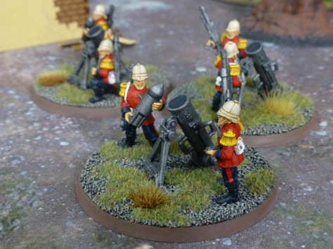 Three weapons teams with mortars