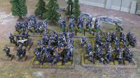 Bird's eye view of a Dark Elf army lined up
