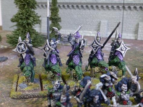 Five Dark Elves riding giant lizards