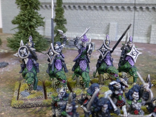 Five Dark Elves riding giant lizards