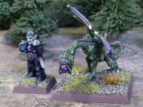 Dark Elf Sorcerer and Jabberwock