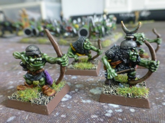 Four goblins with bows in loose formation