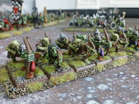 Two ranks of goblins with short bows