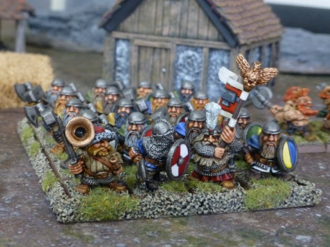 Eye level view of a formed up regiment of dwarf warriors