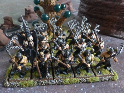 View from above of twenty strong unit of Chaos Marauders with flails