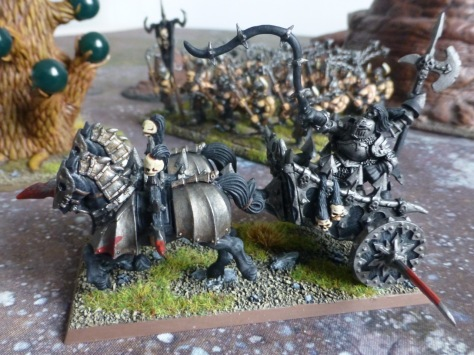 Side view of the chariot driven by two Warriors of Chaos